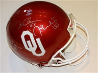 SIGNED BY JASON WHITE, BILLY SIMS, STEVE OWENS - OKLAHOMA SOONERS AUTHENTIC HELMET WITH COA AND PHOTOS