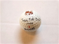 AUTOGRAPHED GOLF BALL BY LEGENDARY PEGGY KIRK BELL WITH PINE NEEDLES GOLF CLUB SEAL