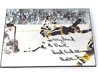 AUTOGRAPHED BY BOBBY ORR PHOTO ON BOARD TO CANADIAN GOLF PROFESSIONAL