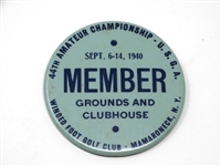 "PIN/BADGE 1940 ""MEMBER"" FROM 44TH AMATEUR CHAMPIONSHIP U.S.G.A. AT WINGED FOOT GOLF CLUB"