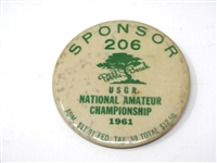 SPONSOR PIN FROM 1961 USGA NATIONAL AMATEUR CHAMPIONSHIP HELD AT PEBBLE BEACH