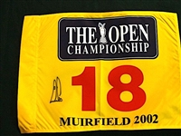 SIGNED BY ERNIE ELS, WINNER 2002 FLAG FROM THE OPEN CHAMPIONSHIP HELD AT MUIRFIELD GOLF LINKS IN SCOTLAND