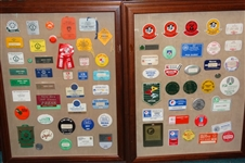 COLLECTION OF BADGES, TICKETS, PINS FROM DIFFERENT GOLF TOURNAMENTS DISPLAYED IN TWO SHADOW BOXES