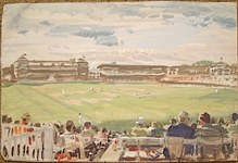 ORIGINAL GOUACHE PAINTING BY ARTHUR WEAVER OF CRICKET MATCH, DATED JUNE 1995, FROM COLLECTION OF FAMILY MEMBER