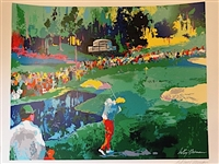 LEROY NEIMAN 16TH AT AUGUSTA MASTERS HAND SIGNED LITHOGRAPH OF JACK NICKLAUS