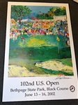 LEROY NEIMAN SIGNED POSTER OF 102nd U.S. OPEN BETHPAGE STATE PARK, BLACK COURSE 2002