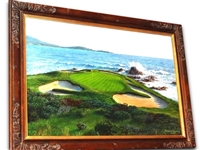 "ORIGINAL OIL PAINTING OF PEBBLE BEACH 7TH HOLE - BY RICHARD CHORLEY. IMAGE SIZE 20"" X 30"""