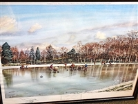 "LITHOGRAPH BY ARTHUR WEAVER ""CURLING ON POLNIE LOCH"" -SIGNED LIMITED EDITION, 1966- FRAMED"