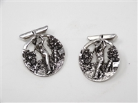 STERLING SILVER EARLY GOLFING MENS CUFF LINKS, CIRCA 1920S. ART DECO PERIOD