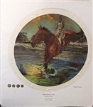 VERY RARE EMBOSSED LITHOGRAPH OF 1978 WORLD 3-DAY CHAMPIONSHIPS, KENTUCKY HORSE PARK