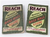 1913 GUIDE AND 1924 GUIDE OF BASE BALL OFFICIAL AMERICAN LEAGUE BOOKS, FULL OF WONDERFUL INFORMATION ON BASEBALL