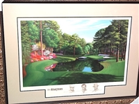 AUGUSTA NATIONAL GC 16TH HOLE LITHOGRAPH SIGNED BY THREE HONORARY STARTERS, SAM SNEAD, BYRON NELSON AND GENE SARAZEN