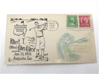 JAN. 13,1933 FIRST DAY OF ISSUE ENVELOPE OF COMMEMORATING AUGUSTA NATIONAL GC OPENING DAY AND BOBBY JONES IMAGE