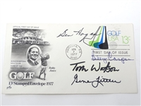 1977 SIGNED BEN HOGAN, TOM WATSON, BILLY CASPER AND GENE LITTLER FIRST DAY OF ISSUE ENVELOPE FROM AUGUSTA NATIONAL G.C.