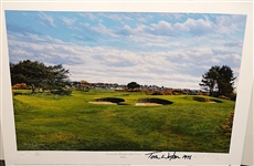 SIGNED BY TOM WATSON 1975, LIMITED EDITION #79/ 850 LITHOGRAPH OF CARNOUSTIE CHAMPIONSHIP COURSE