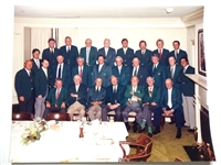 1986 OFFICIAL PHOTO OF MASTERS DINNER IN AUGUSTA NATIONAL GC WITH WINNERS OF THE GREEN JACKET - JACK NICKLAUS WINNER