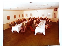1976 PHOTO OF OFFICIAL MASTERS DINNER IN AUGUSTA NATIONAL GOLF CLUB WITH WINNERS OF THE GREEN JACKET.  RAY FLOYD WINNER.