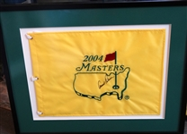 ARNOLD PALMER SIGNED 2004 MASTERS FLAG: PALMERS LAST MASTERS - PHIL MICKELSON WON HIS FIRST MASTERS