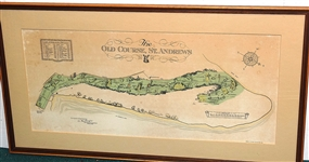 THE OLD COURSE, ST. ANDREWS ORIGINAL COLOR PRINTED MAP OF ST. ANDREWS GOLF COURSE. SIGNED