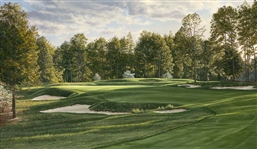 PINEHURST 5TH HOLE No.2 COURSE, 1999 U.S. OPEN - ARTIST PROOF LTD. EDITION LITHOGRAPH BY LINDA HARTOUGH
