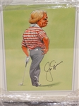 JACK NICKLAUS HAND SIGNED CARICATURE BY JOHN IRELAND, FRAMED