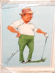 HAND SIGNED BY SAM SNEAD HIS CARICATURE BY JOHN IRELAND- FRAMED