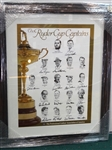 SIGNED BY RYDER CUP CAPTAINS POSTER INCLUDING: ARNOLD PALMER, BEN HOGAN, JACK NICKLAUS, SAM SNEAD AND MANY OTHERS