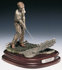 "SCULPTURE BY MICHAEL ROCHE- ""UP AND DOWN""  WITH BEN HOGAN LIKENESS MIXED METAL ON A HARDWOOD BASE"