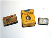 "PINEHURST CIGARETS UNOPENED 1920S WITH MATCHES ""THE GOLF""  AND 1941 SILVER MATCH BOX"