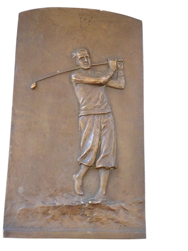"1928 BRONZE GOLFER BASS RELIEF OF PERIOD GOLFER 12"" BY 7"""