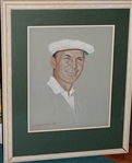 "BEN HOGANS ORIGINAL PORTRAIT BY W. H. ""ANDY"" ANDERSON, DATED 1978, FRAMED."