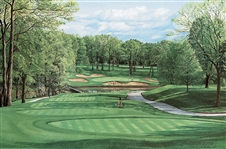 MEDINAH 13TH HOLE, COURSE No.3 FINE ART PRINT BY LINDA HARTOUGH, LTD. ED. SIGNED, 1990 SOLD OUT EDITION