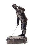"STATUE OF AN EARLY CAST IRON SCOTSMAN GOLFER ""FAR AND SURE"""