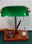 ONE-OF-KIND BANKERS LAMP WITH COLLECTIBLE IVORY INLAID MACGREGOR CHIEFTAIN CLUB HEAD-MINT