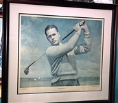 SIGNED BY BOBBY JONES TO JOHN D. COFFIN NUMBERED #31 PRINT TO ONE OF THE DONORS WHOSE NAME IS ON THE PLAQUE ATTACHED TO THE PORTRAIT OF BOBBY JONES