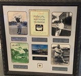 "SIGNED BY BEN HOGAN, BYRON NELSON, SAM SNEAD COLLAGE OF MASTERS WINNERS, FRAMED SIZE 32"" X 34"""