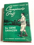 "SIGNED BOOK "" THIRTY YEARS OF CHAMPIONSHIP GOLF"" BY GENE SARAZEN TO GRANTLAND RICE AND HERBERT WARREN WIND"