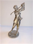 "VINTAGE GOLFER, HEAVY METAL. 11.5"" HIGH ON 5"" ROUND BASE"