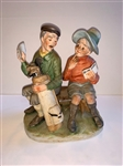 RARE VINTAGE CERAMIC SCULPTURE OF A GOLFING COUPLE