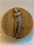 "ANTIQUE BAS RELIEF OF GOLFER, BRONZE AND STONE 5"" DIAMETER"