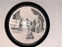 "ANTIQUE SCRIMSHAW GOLFER THEME PAPER WEIGHT, 4"" DIAMETER"