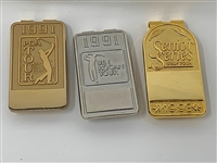SET OF 3 BADGES/ MONEY CLIPS, CAN BE ENGRAVED FROM 1991 PGA TOUR, 1991 BEN HOGAN TOUR, SENIOR SERIES GOLF TOUR 1998