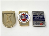COLLECTION OF 3 BADGES/MONEY CLIPS FROM PGA TOUR PARNERS, PGA INNER CIRCLE, 1991 FOUNDERS CLUB PGA WINTER TOURNAMENT PROGRAM