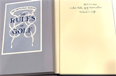 "SIGNED BY RICHARD S. TUFTS BOOK ""THE PRINCIPLES BEHIND THE RULES OF GOLF""- HARD COVER WITH CLAMBSHALL"