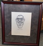 "ORIGINAL PENCIL DRAWING CARICATURE OF FRANCIS OUIMET, CIRCA 1930, FRAMED SIZE 15 1/2"" X 18"""