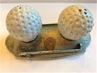 ANTIQUE METAL GOLF BALL SALT & PEPPER SHAKERS ON A BASE WITH A GOLF CLUB
