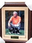 "ARNOLD PALMER HAND SIGNED LARGE PHOTO CELEBRATING FOUR WINS AT THE MASTERS, FRAMED SIZE 28"" X 33"""