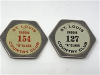 VINTAGE SET OF 2 CADDIE BADGES FROM ST. LOUIS COUNTRY CLUB