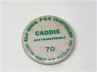 42ND ANNUAL PGA CHAMPIONSHIP CADDIE BADGE FROM FIRESTONE COUNTRY CLUB, 1960