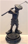 "BRONZE ""BOY GOLF"" STATUE WITH MARBLE BASE BY JIM DAVIDSON. MEASURING 25.5"" H x 11"" BASE"